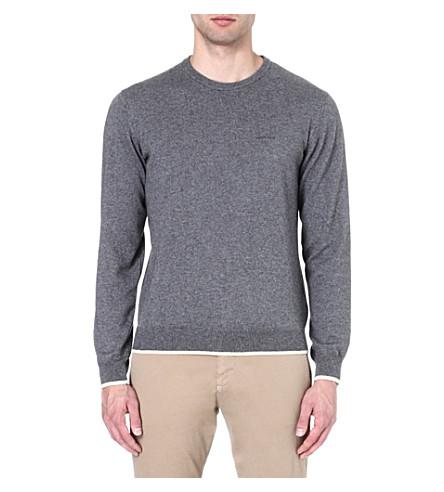 ARMANI JEANS Contrast-trim jumper (Grey