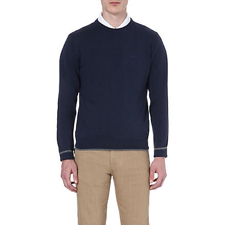 ARMANI JEANS Elbow-patch knitted jumper (Blue