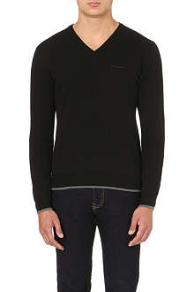 ARMANI JEANS V-neck knitted jumper