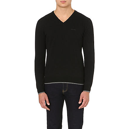 ARMANI JEANS V-neck knitted jumper (Black