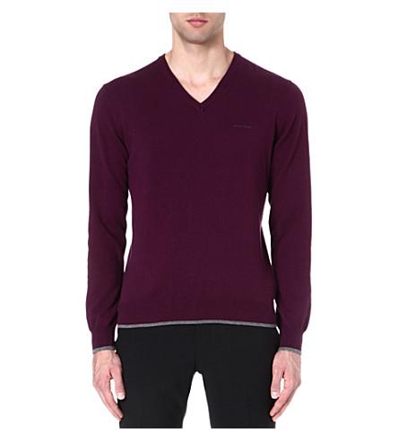 ARMANI JEANS V-neck cotton-blend jumper (Purple