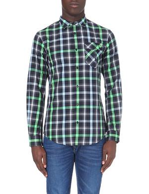 ARMANI JEANS Checked slim-fit cotton shirt