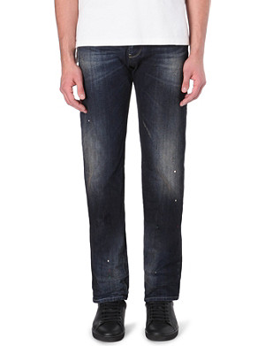 ARMANI JEANS Mid-rise regular-fit paint splatter jeans