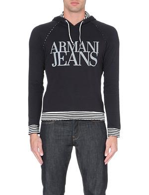 ARMANI JEANS Logo cotton-jersey hoody