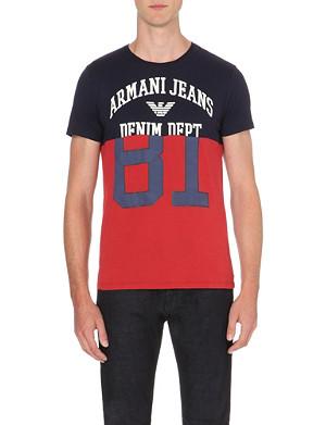 ARMANI JEANS Colour-block cotton-jersey t-shirt