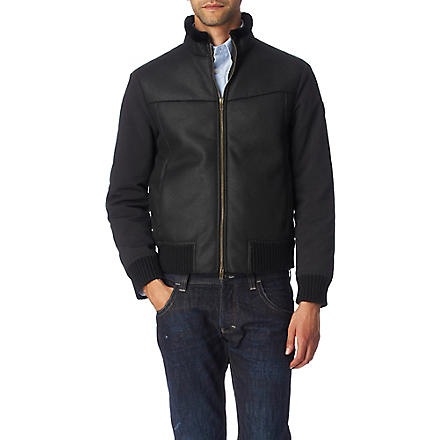 ARMANI JEANS Faux-shearling lined jacket (Black