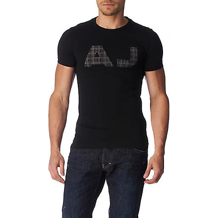 ARMANI JEANS Checked logo t-shirt (Black