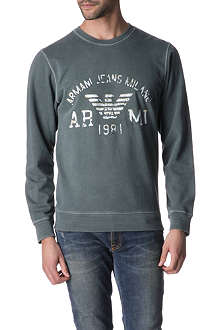 ARMANI JEANS Logo and graphic print sweatshirt