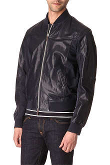ARMANI JEANS Leather and canvas-panel jacket