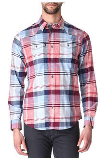 ARMANI JEANS Checked slub shirt