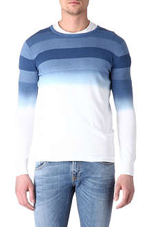 ARMANI JEANS Dip-dyed striped jumper