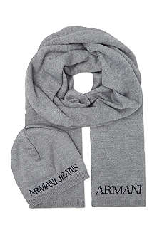 ARMANI JEANS Knitted hat and scarf set