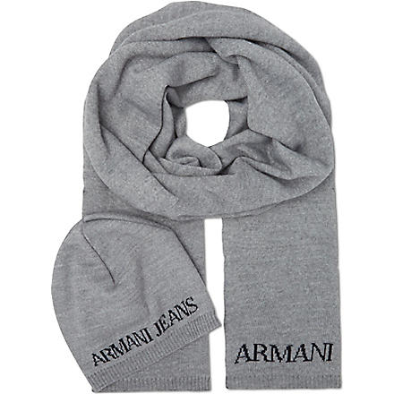 ARMANI JEANS Knitted hat and scarf set (Grey