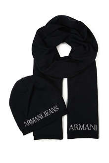 ARMANI JEANS Knitted hat and scarf gift set