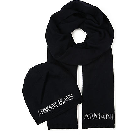 ARMANI JEANS Knitted hat and scarf gift set (Blue