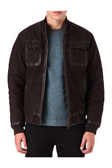 ARMANI JEANS Washed leather bomber jacket