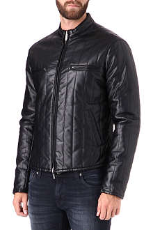 ARMANI JEANS Faux-leather quilted jacket
