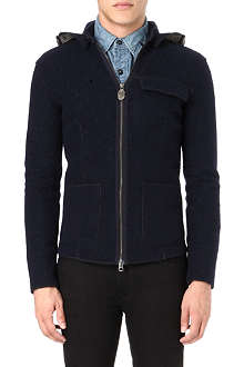 ARMANI JEANS Boiled wool zip-through hoody