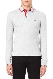 ARMANI JEANS Tipped long-sleeve polo shirt
