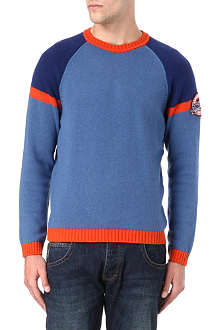 ARMANI JEANS Knitted contrast wool-blend jumper