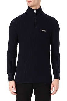 ARMANI JEANS Star half-zip knitted jumper
