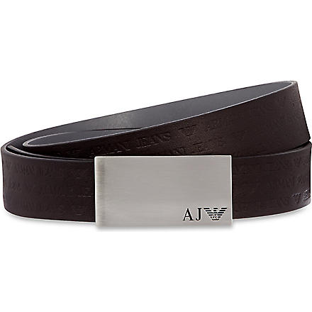 ARMANI JEANS Embossed logo belt (Black