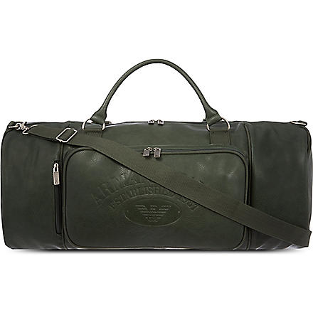 ARMANI JEANS Eco large leather weekender (Green