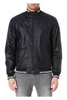 ARMANI JEANS Striped-trim leather jacket