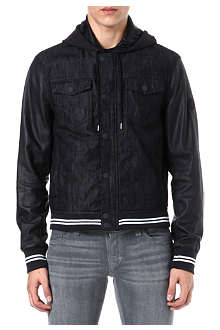 ARMANI JEANS Denim and perforated-leather jacket