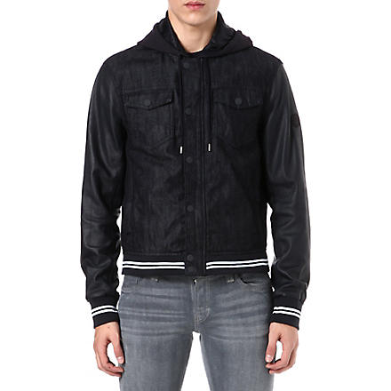 ARMANI JEANS Denim and perforated-leather jacket (Navy