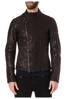 ARMANI JEANS Suede-panelled leather jacket