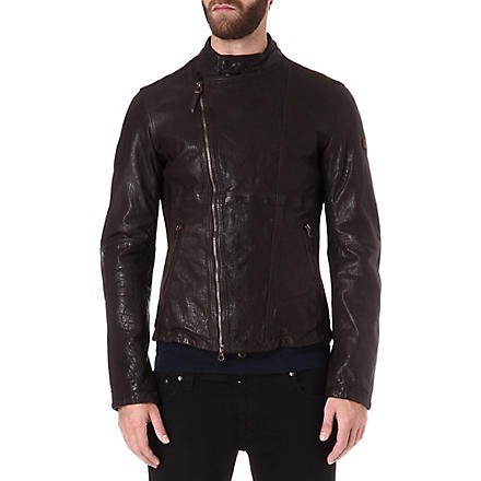 ARMANI JEANS Suede-panelled leather jacket (Brown