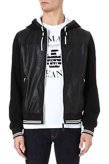 ARMANI JEANS Faux-leather and jersey hooded jacket