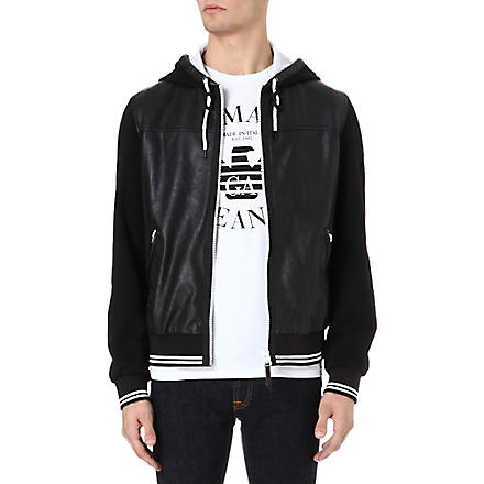 ARMANI JEANS Faux-leather and jersey hooded jacket (Black