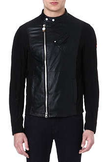 ARMANI JEANS Perforated leather biker jacket