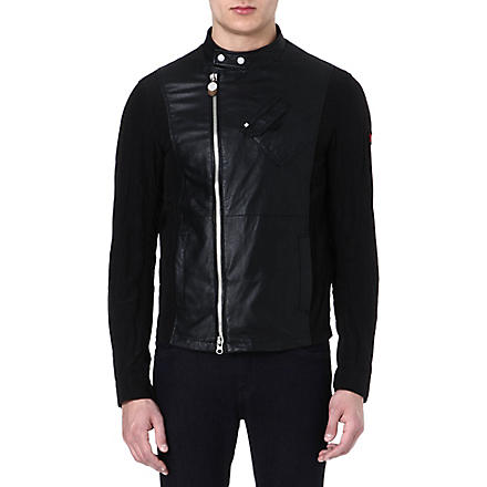 ARMANI JEANS Perforated leather biker jacket (Black