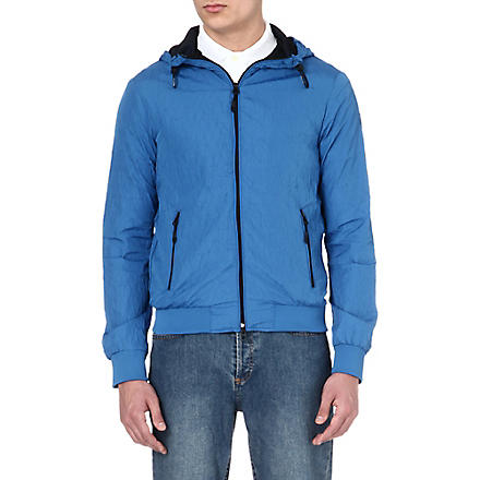 ARMANI JEANS Embossed zip-up jacket (Blue