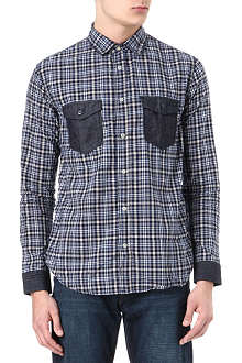 ARMANI JEANS Chambray pocket check shirt