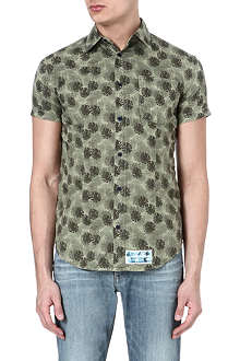 ARMANI JEANS Leaf-print short-sleeved shirt