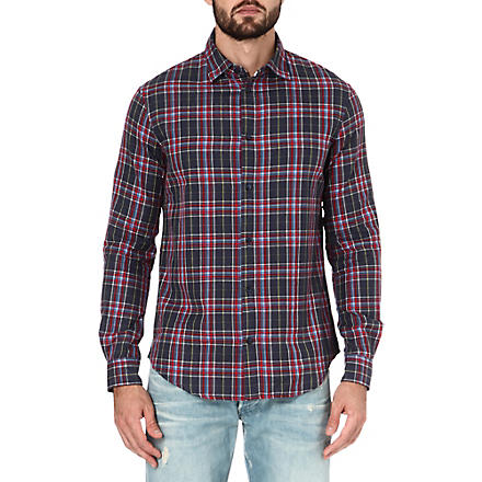 ARMANI JEANS Slim-fit checked shirt (Navy/red