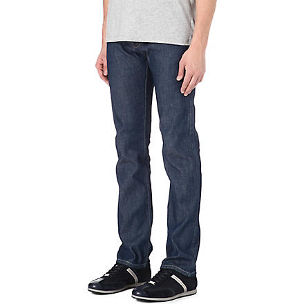 ARMANI JEANS J45 regular-fit straight chambray jeans (Blue