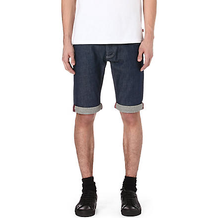 ARMANI JEANS Striped-trim denim shorts (Blue