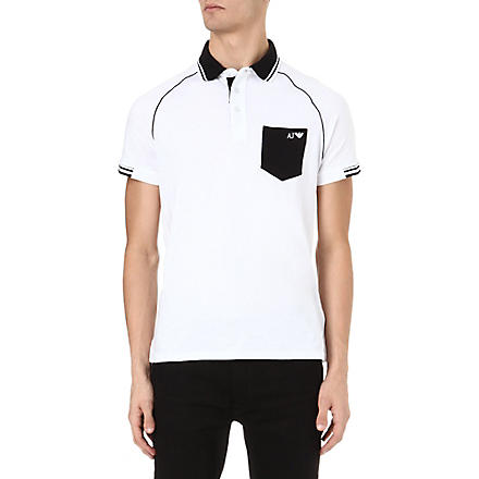 ARMANI JEANS Contrast-pocket polo shirt (White