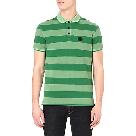ARMANI JEANS Striped piqué polo shirt (Green
