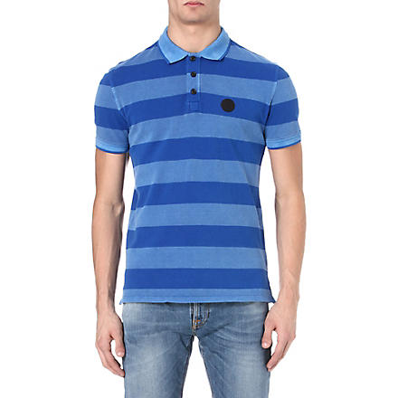 ARMANI JEANS Striped piqué polo shirt (Blue