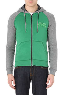 ARMANI JEANS Colourblocked logo hoody