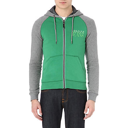 ARMANI JEANS Colourblocked logo hoody (Green/grey