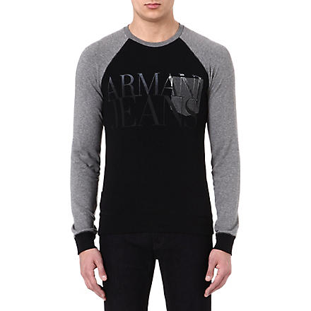 ARMANI JEANS Raglan sleeve logo top (Black/grey