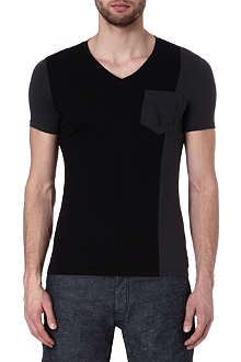 ARMANI JEANS Colour-blocked jersey t-shirt