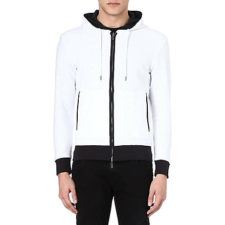 ARMANI JEANS Reversible hooded logo sweatshirt (White